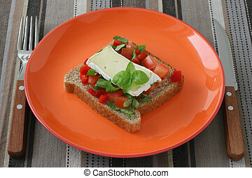 Toast with cheese camembert