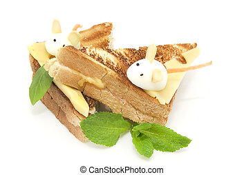 Toast with cheese decorated with white mice of quail eggs