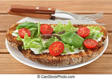 Toast with cream cheese, lettuce