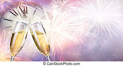 Toast With Fireworks And Champagne At Midnight