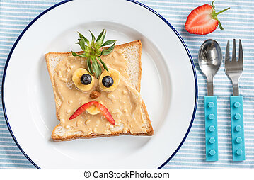 Toast with funny face for kids