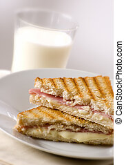 toast with ham and cheese close up shoot