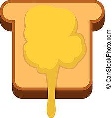 Toast with honey icon, flat style