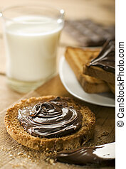 choco - toast with nutella chocolate close up shoot
