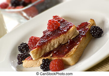 jam - toast with raspberry jam close up shoot