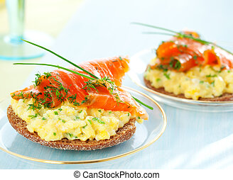 toast with scrambled eggs, salmon and chives - Scrambled egg...