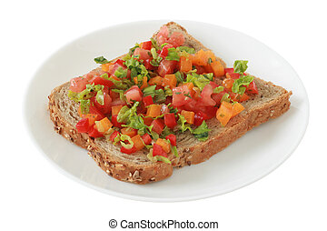 toast with vegetables