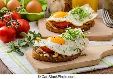 toast, zdrowy obiad, panini, roślina, jajko