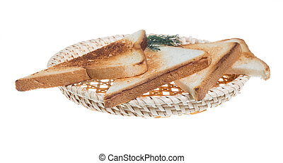 toasted bread slices for breakfast isolated on white studio background.