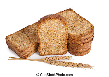 toasted bread slices isolated on white background