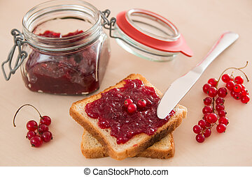 bread with jam for breakfast and milk
