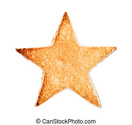 toasted bread with star shape - Slice of bread toast cut...
