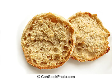Toasted English Muffin - A lightly toasted English Muffin on...