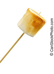 Golden toasted marshmallow on a wooden skewer