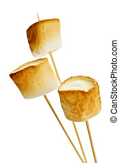Toasted marshmallows - Three golden toasted marshmallows on...