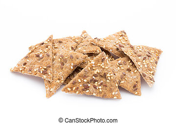Toasted pita bread chips with herbal seasoning. - Bread...