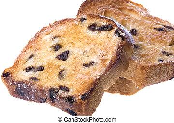 Toasted Raisin Bread Slices Isolated - Isolated macro image...