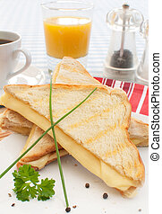 Toasted sandwich with melted cheese