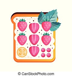 Toasted sandwich with strawberry vector Illustration on a white background