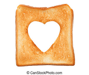 toasted slice of bread with heart