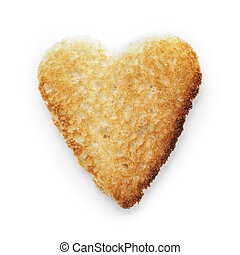 toasted slice of white bread heart shape