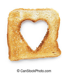 toasted slice of white bread with hole heart shape