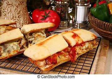 Toasted Submarine Sandwich - Toasted submarine sandwich with...