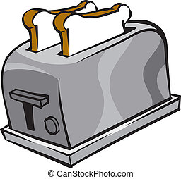 Toaster - An Illustration of a toaster and two slices of...