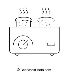 Toaster and bread vector illustration on white