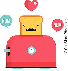 Toaster and funny hipster toasted bread with mustache Cartoon character
