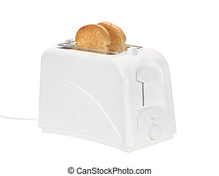 Toaster and two slices of toast isolated on white