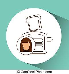 toaster appliance icon bread kitchen, female avatar