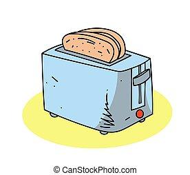 Toaster cartoon hand drawn image. Original colorful artwork,...