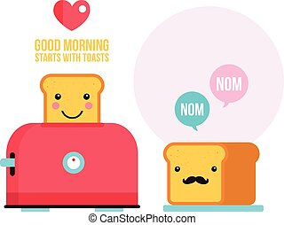 Toaster Funny hipster toasted bread loaf with mustache Cartoon character