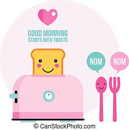 Toaster Funny toasted bread with cute smile Cartoon character
