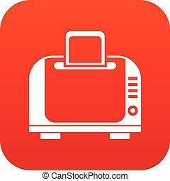 Toaster icon digital red