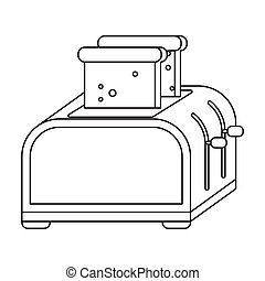 Toaster icon in outline style isolated on white background. Kitchen symbol stock vector illustration.