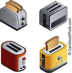 Toaster icons set, isometric style
