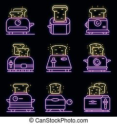 Toaster icons set vector neon