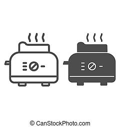 Toaster line and solid icon, Kitchen equipment concept, electric toaster with toast sign on white background, Toaster with bread icon in outline style for mobile concept, web design. Vector graphics.