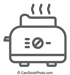 Toaster line icon, Kitchen equipment concept, electric toaster with toast sign on white background, Toaster with bread icon in outline style for mobile concept, web design. Vector graphics.
