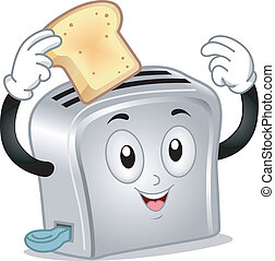 Toaster Mascot - Mascot Illustration of a Toaster Holding a...