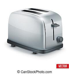 toaster., metal, aislado, brillante, vector, white.