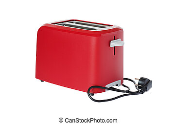 Toaster of red colour, isolated on a white background