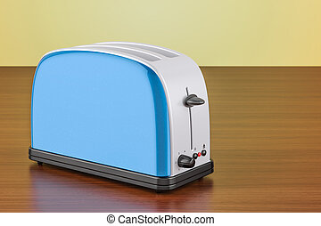 Toaster on the wooden table, 3D rendering