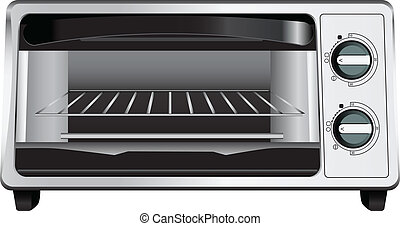 Toaster Oven - Modern toaster oven with glass door. Vector...