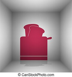Toaster simple sign. Bordo icon with shadow in the room.