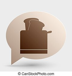 Toaster simple sign. Brown gradient icon on bubble with shadow.