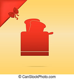 Toaster simple sign. Cristmas design red icon on gold background.