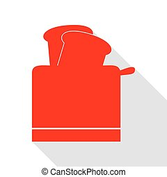 Toaster simple sign. Red icon with flat style shadow path.